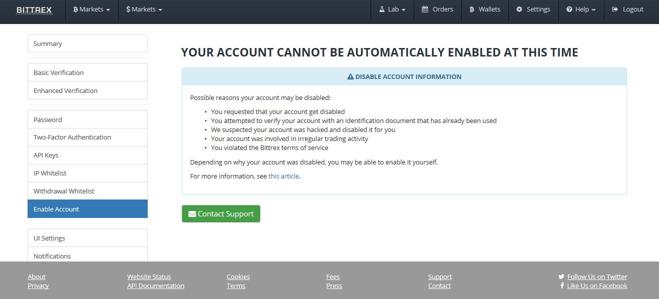 Bittrex блокирует счета пользователей