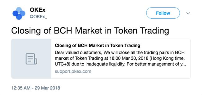 делистинг BCH с OKEx