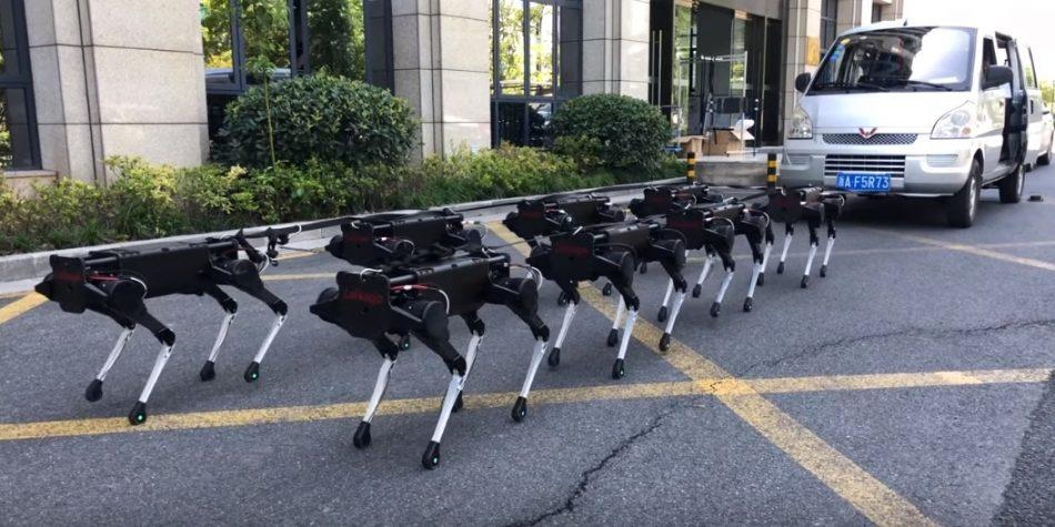 В Китае механических собак использовали для перемещения человека и машины